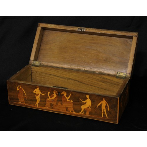 5048 - A 19th century marquetry box, inlaid in the Grand Tour taste with Europa and the Bull, a Centaur and...