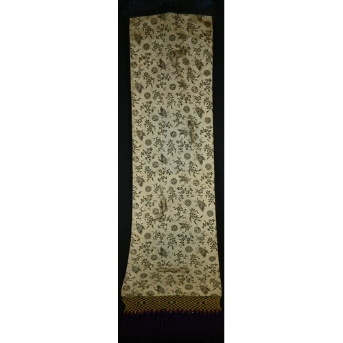 5022 - A 19th century Chinese Taoist rectangular silk banner, worked in gilt and coloured threads with a te...