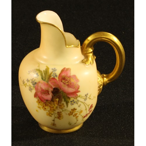 31A - A Royal Worcester blush ivory ovoid jug, printed and painted with summer flowers, picked out in gilt...