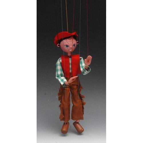 18 - SS Cowboy - Pelham Puppets SS Range, wooden ball head, faux hair, hand painted features, blue eyes, ...