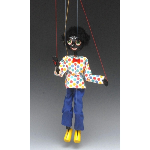 20 - SS Golliwog  - Pelham Puppets SS Range, wooden ball head, faux fur hair, painted features, green eye...