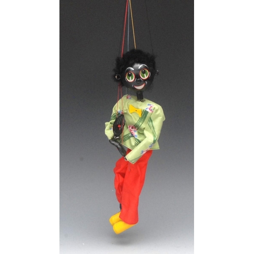 21 - SS Golliwog  - Pelham Puppets SS Range, wooden ball head, faux fur hair, painted features, green eye...