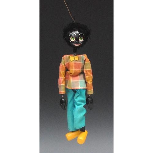 24 - SS Golliwog  - Pelham Puppets SS Range, wooden ball head, faux fur hair, painted features, green eye...