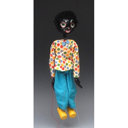 25 - SS Golliwog  - Pelham Puppets SS Range, wooden ball head, faux fur hair, painted features, green eye...