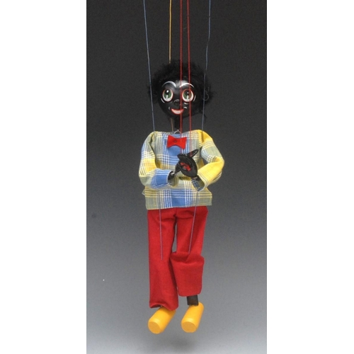 27 - SS Golliwog  - Pelham Puppets SS Range, wooden ball head, faux fur hair, painted features, green eye...