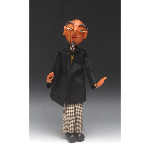 28 - SS Proffessor Bookworm - very rare, Pelham Puppets SS Range, carved wooden head with pronounced faci...