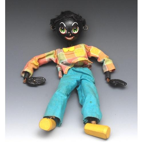 3 - <p>SS Golliwog - Pelham Puppets SS Range, wooden ball head, faux fur hair, painted features, green e...