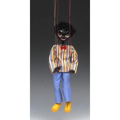 30 - SS Golliwog - Pelham Puppets SS Range, wooden ball head, faux fur hair, painted features, green eyes...