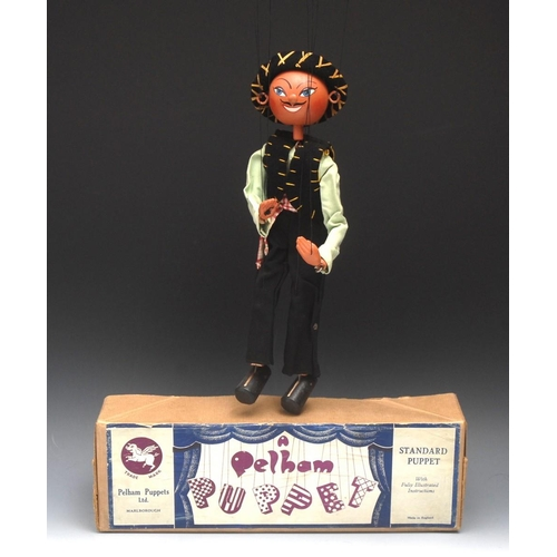 33 - SS Mexican Boy - early rare, Pelham Puppets SS Range, round wooden head with hand painted features, ...