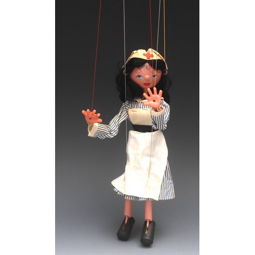 39 - <p>SS Nurse - Pelham Puppets SS Range, wooden ball head, black hair, hand painted features, blue eye...