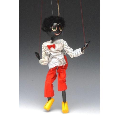 42 - SS Golliwog - Pelham Puppets SS Range, wooden ball head, faux  fur hair, painted features, green eye...