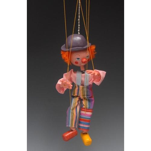 5 - SS Barnham the Clown - Pelham Puppets SS Range, pink painted wooden head, plastic tube arms, strung ...