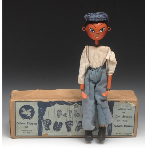 6 - SS Cockney Boy - very rare, Pelham Puppets SS Range, round wooden head with hand painted features in...