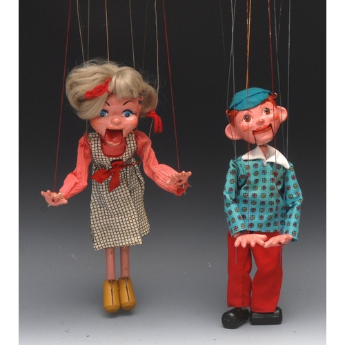 60 - SM Boy and Girl - Pelham Puppets SM Range, moulded heads, painted features, opening mouths, composit...