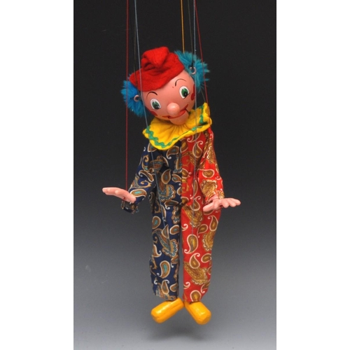 62 - <p>SM Clown - Pelham Puppets SM Range, blue hair, painted features, red ball nose, opening mouth, co...