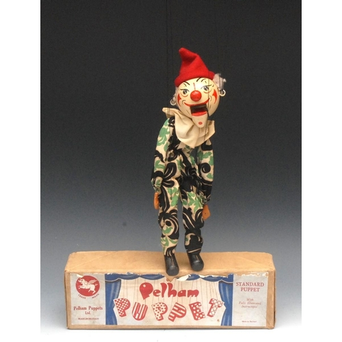 63 - SM White Faced Clown - Pelham Puppets SM Range,  painted features, red ball nose, opening mouth, sma...