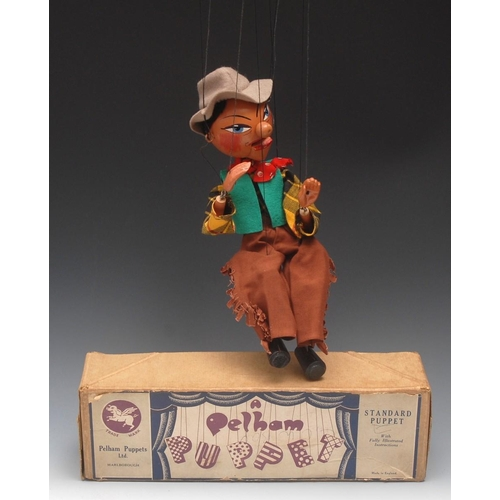 64 - SM Cowboy - extremely rare, Pelham Puppets SM Range , round wooden head, hand painted features, blue...