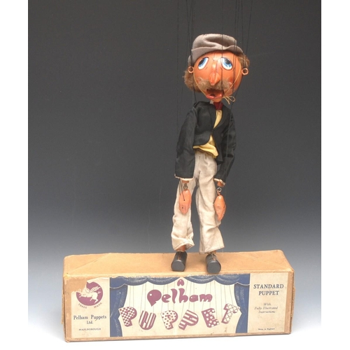 65 - SM Dandy - very rare, Pelham Puppets SM Range, round wooden head, hand painted features, large upwar...