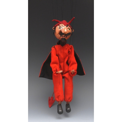 66 - SM Devil (Hook-nosed) - very early and very rare, Pelham Puppets SM Range, black wool hair, fur mous...