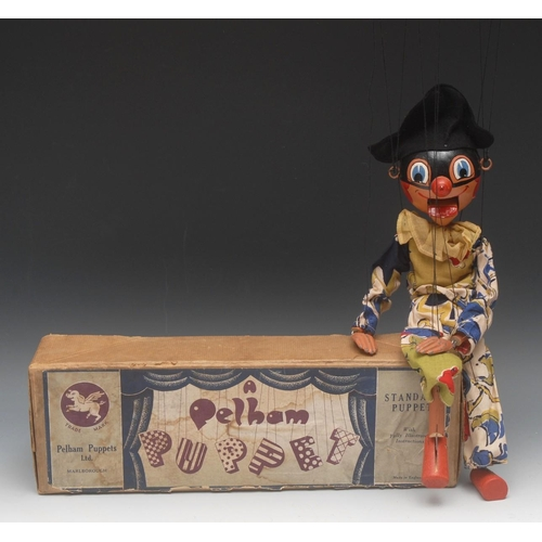 69 - SM Harlequin - very rare,  Pelham Puppets SM Range, round wooden head with painted features, blue ey...
