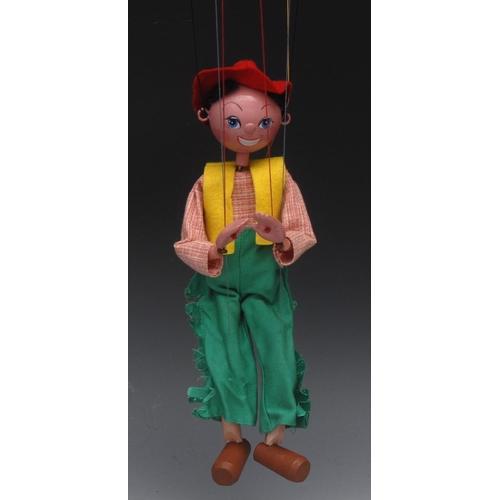 8 - SS Cowboy - Pelham Puppets SS Range, wooden ball head, faux hair, hand painted features, blue eyes, ...