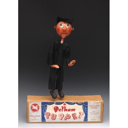 81 - SM Parson - very rare, Pelham Puppets SM Range, black felt hair, painted features, ball nose, openin...