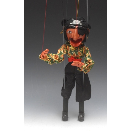 82 - SM Pirate - Pelham Puppets SM Range, composite head and torso, chained wooden tube arms, strung thro...