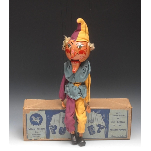 85 - SM Punch - extremely rare, very few known, Pelham Puppets SM Range, large round wooden head, hand pa...