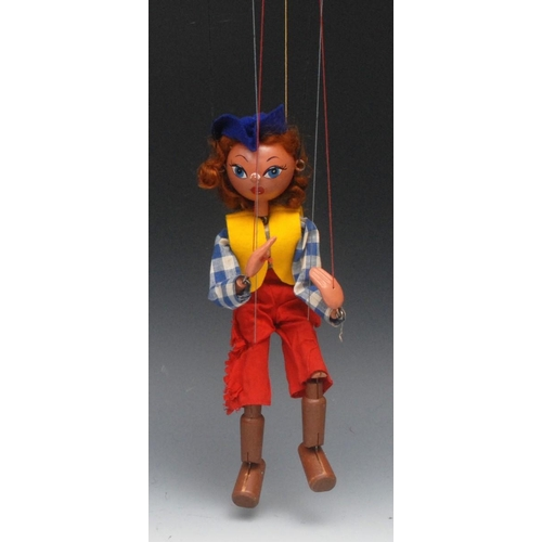 9 - SS Cowgirl - Pelham Puppets SS Range, wooden ball head, auburn curly hair, painted features, blue ey...