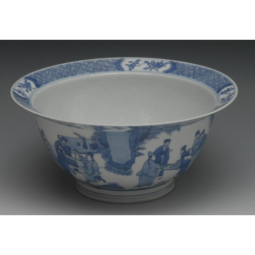 12 - A Chinese blue and white 'klapmut' bowl, the exterior painted with continuous scene of figures playi...