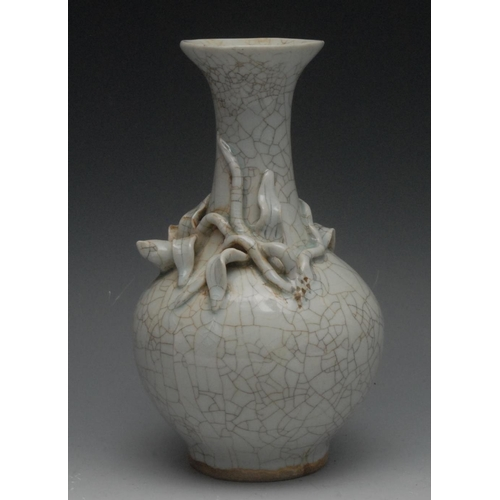20 - A Chinese crackle glaze pale celadon ovoid vase, the shoulder applied with a budding stem, 23cm high...