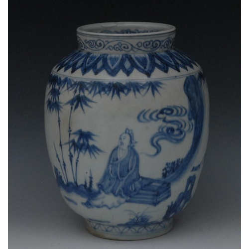 32 - A Chinese ovoid vase, decorated in underglaze blue with elder, attendants, bamboo and foliage, the s...