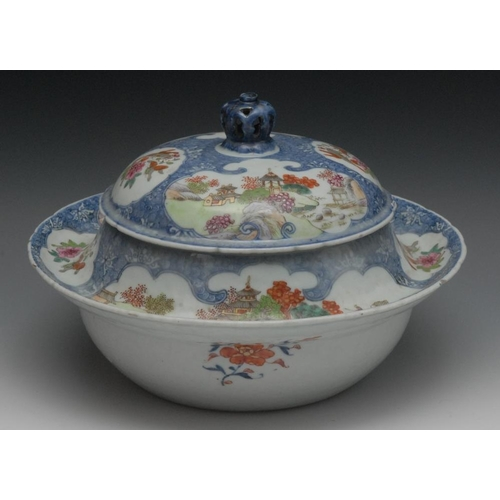 36 - A Chinese porcelain circular tureen, painted with pagoda landscapes, flowers and insects within shap...