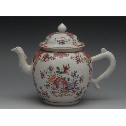 4 - A Cantonese Famille Rose globular teapot and cover, painted with flowers and foliage, scaled scroll ...