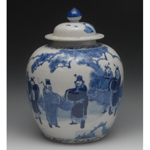40 - A Chinese porcelain ovoid jar and cover, well painted in underglaze blue with warriors meeting, knop...