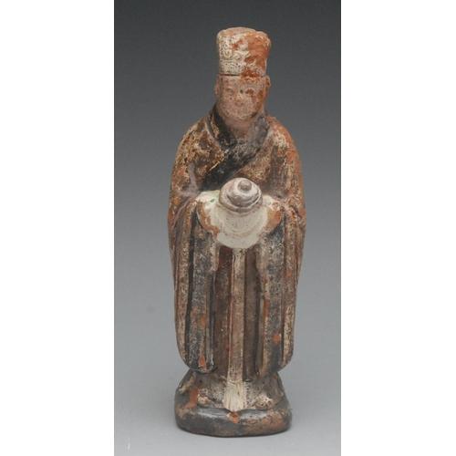 45 - A Chinese terracotta tomb figure, polychrome glaze, 17cm high...