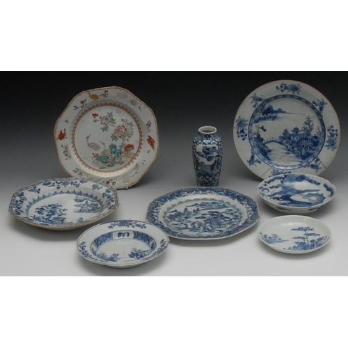 47 - An 18th century Chinese bowl, of octagonal shape, decorated in underglaze blue with a pagoda in a st...