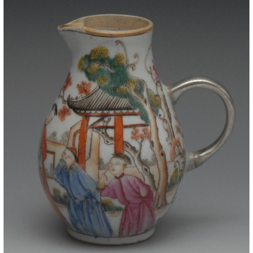 49 - An 18th century Chinese sparrow beak jug, painted in polychrome with figures in the European manner,...