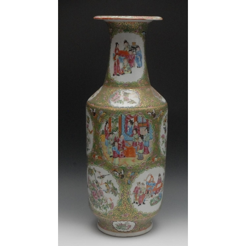 54 - A large Cantonese porcelain vase, painted in the Famille Rose palette with figures of the court, bir...