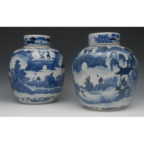 58 - A pair of 18th century Chinese ginger jars and covers, painted in underglaze blue with continuous la...