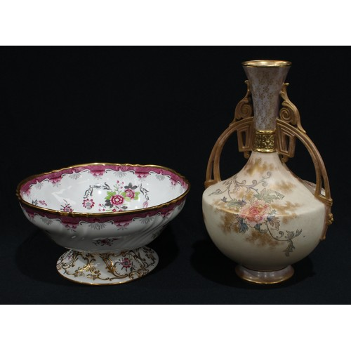 31 - A large Spode Copeland's Connaught pattern pedestal bowl, printed and painted with sprays of pink bl...
