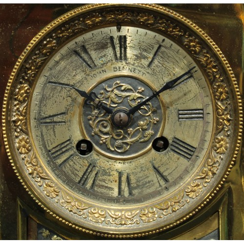 41 - A Victorian brass mantel clock, Roman numerals to dial with twin winding holes, the dial inscribed J...