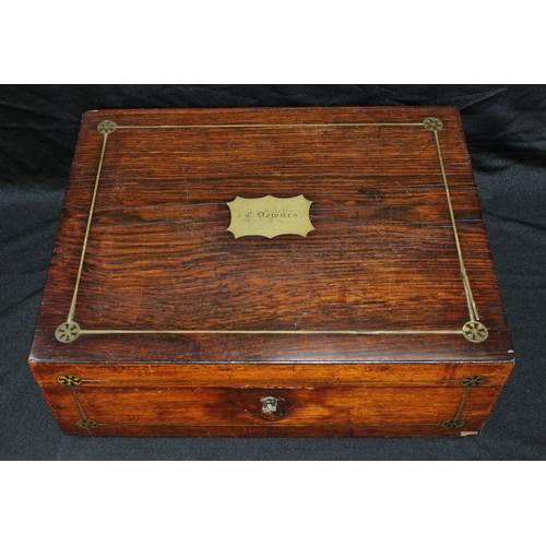 49 - A George III rosewood and brass inlaid writing box...