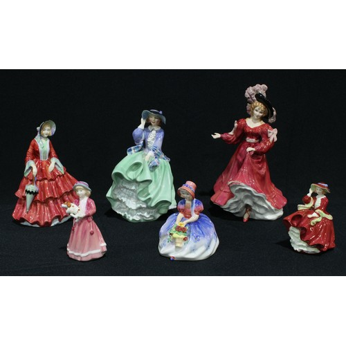 54 - A Royal Doulton figure of the year, Patricia, HN3365, 22.5cm; others, Top o'the Hill, HN1833; Monica...