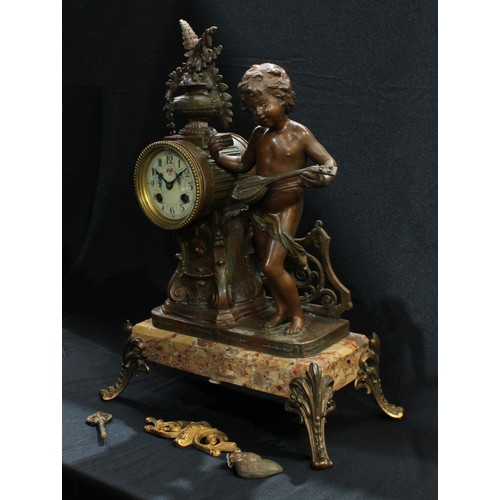 43 - A late 19th century French spelter and marble mantel clock, mounted with a cherub musician, circular...