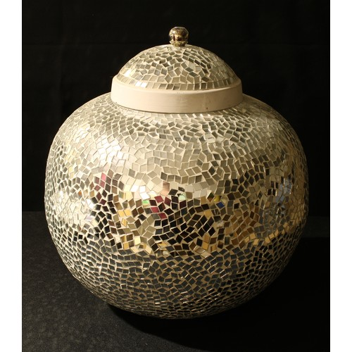 20 - A large contemporary mirrored micro mosaic globular jar and cover, approx. 35cm high...