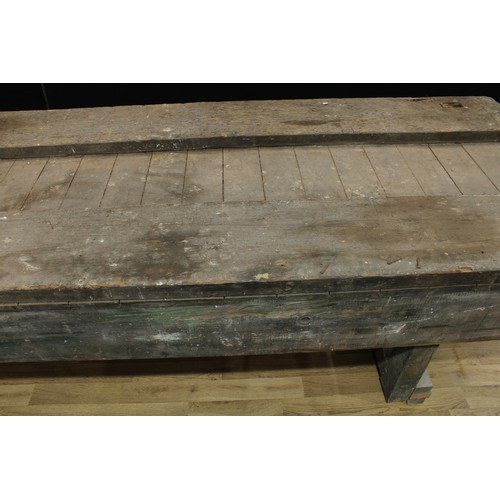 4 - Barn Salvage - a substantial work table/bench, of country estate proportions, plank top with a pair ...