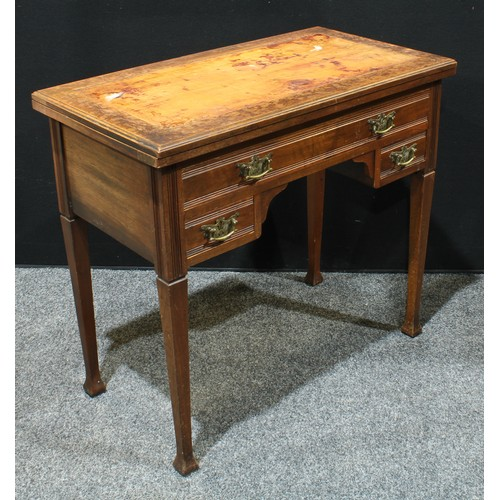 17 - An unusual late Victorian combination writing desk and card table, folding top above an arrangement ...