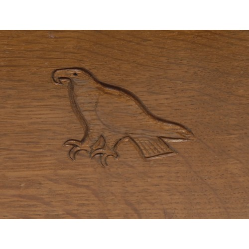 1146 - Mouseman and the Yorkshire Critters - an Eagleman oak bookstand, by Albert Jeffray of Sessay, adzed ...