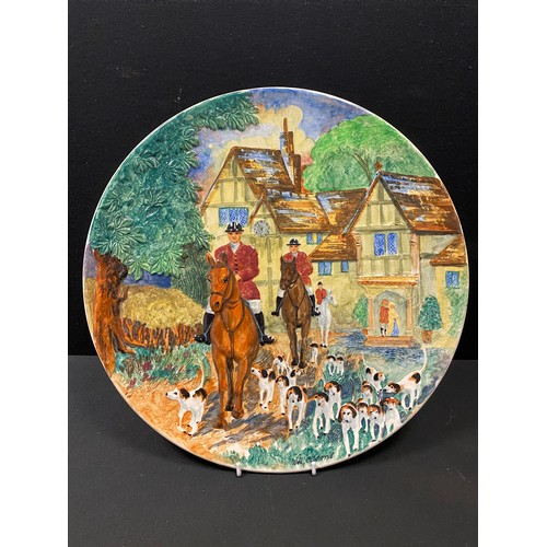 5 - Burleigh Ware relief moulded wall plaque painted by Williams Adams 41cms...